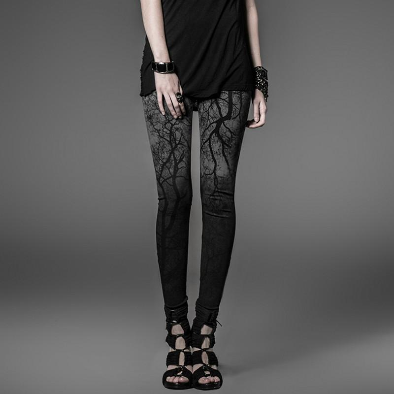 Women's Steampunk Asymmetric Tree branches Gradient Black Leggings-Punk Design