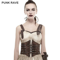 PUNK RAVE Women's Steampunk Buckles Lace Up Underbust Corsets