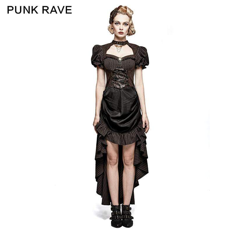 PUNK RAVE Women's Steampunk Coffee Puff Sleeves High Low Ruffles Dress