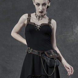 Punk Rave Femmes Steampunk Contrast Color Gears Waistbags with Chains