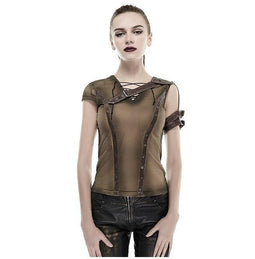 Women's Steampunk Crocheted Straps Backless T Shirt-Punk Design