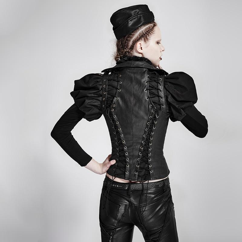 Women's Steampunk Domineering High Collar Rivets Lace Up Corsets-Punk Design