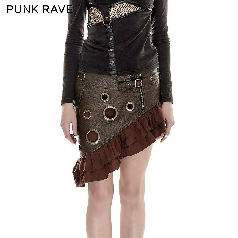 PUNK RAVE Women's Steampunk Faux Leather Buckles Flounced Skirt