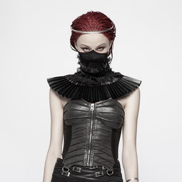 Punk Rave Damen Steampunk Kunstleder Rüschen Fake Collar