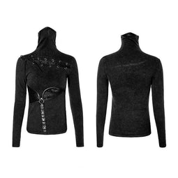 Women's Steampunk High Collar Hollow Out Waist Long Sleeve Tops-Punk Design