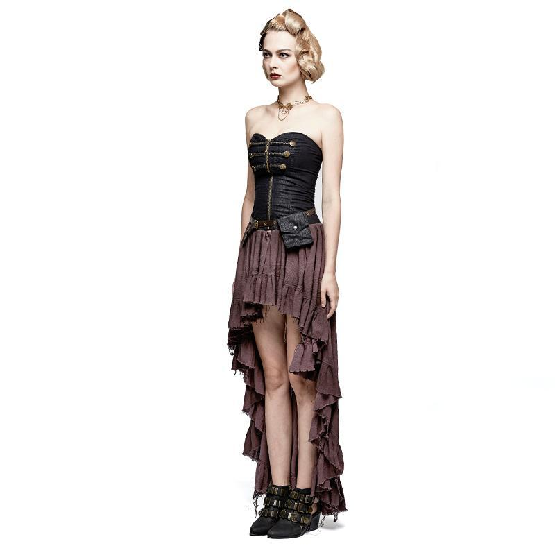 Damen Steampunk High / Low Dryad Tube Kleid mit Hüfttasche - PunkDesign