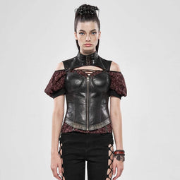 Punk Rave Frauen Steampunk Hollow Out Off Schulter Schultern