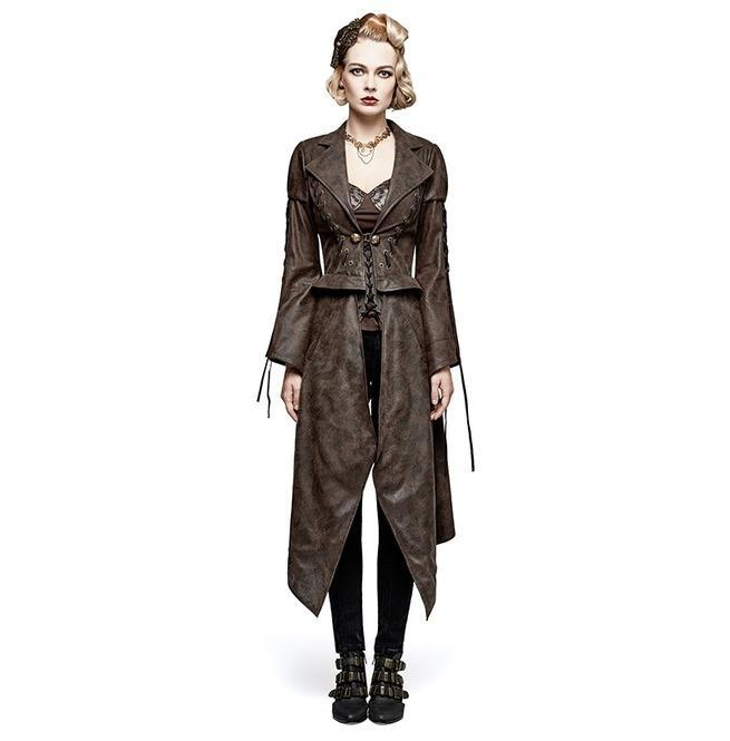 Women's Steampunk Hot Stamping Dovetail Coat With Removable Hem-Punk Design