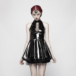 Women's Steampunk Latex Halterneck Mini Dress Halloween Costume