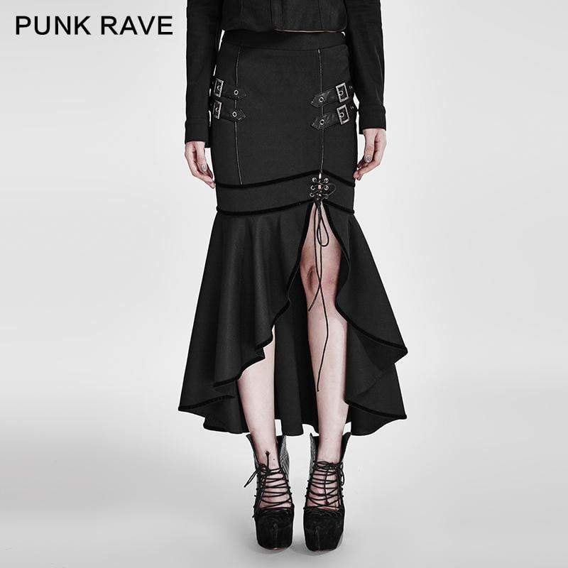 PUNK RAVE Women's Steampunk Military Slit Fishtail Skirt