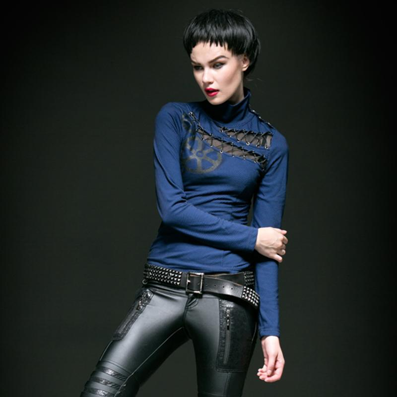 Women's Steampunk oblique Lace-up Gear Printed Turtleneck Tops - PunkDesign