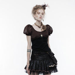 PUNK RAVE Women's Steampunk Stripe Colorblock Cotton Brooch T-shirt