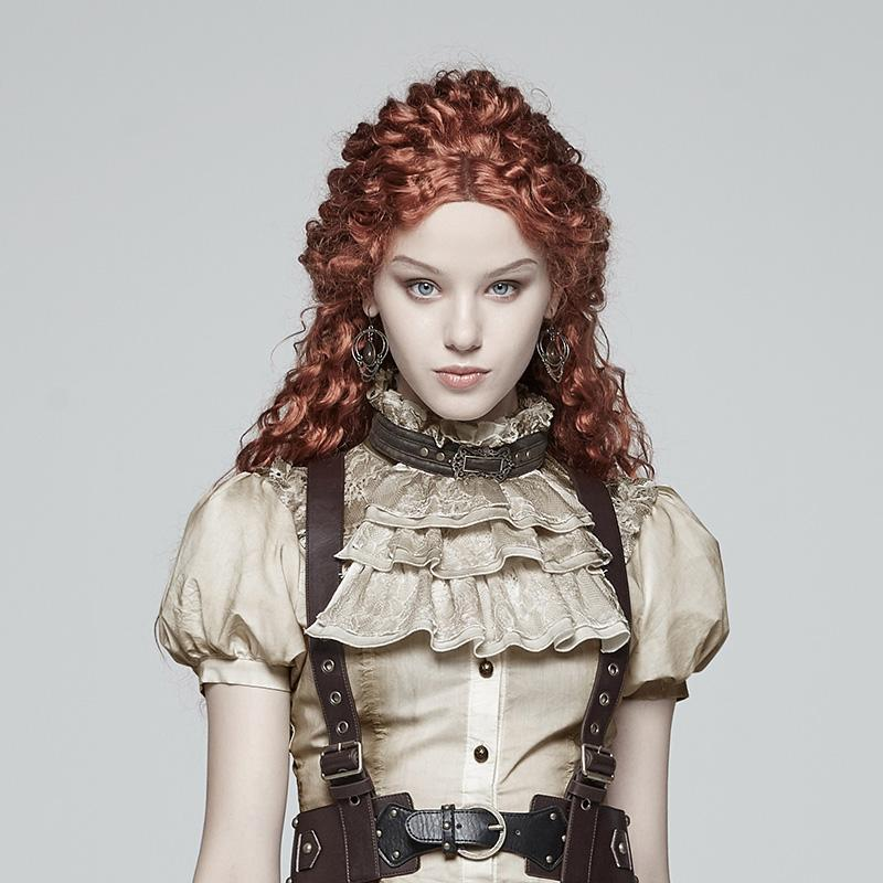 PUNK RAVE Mujer Steampunk Vintage Frilled Ruffle Collar