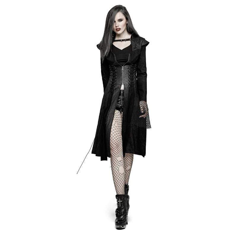PUNK RAVE Women's Steampunk Winter Lace Up Swallow Tail Overcoat