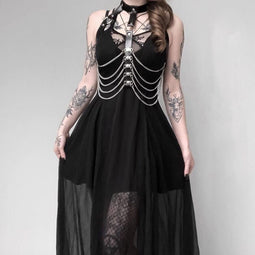 Women's Strappy Layered Punk Dress-Punk Design