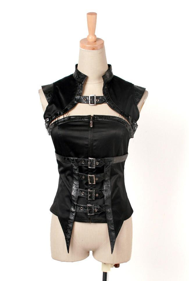 Women's Straps Faux Leather Vest Black-Punk Design