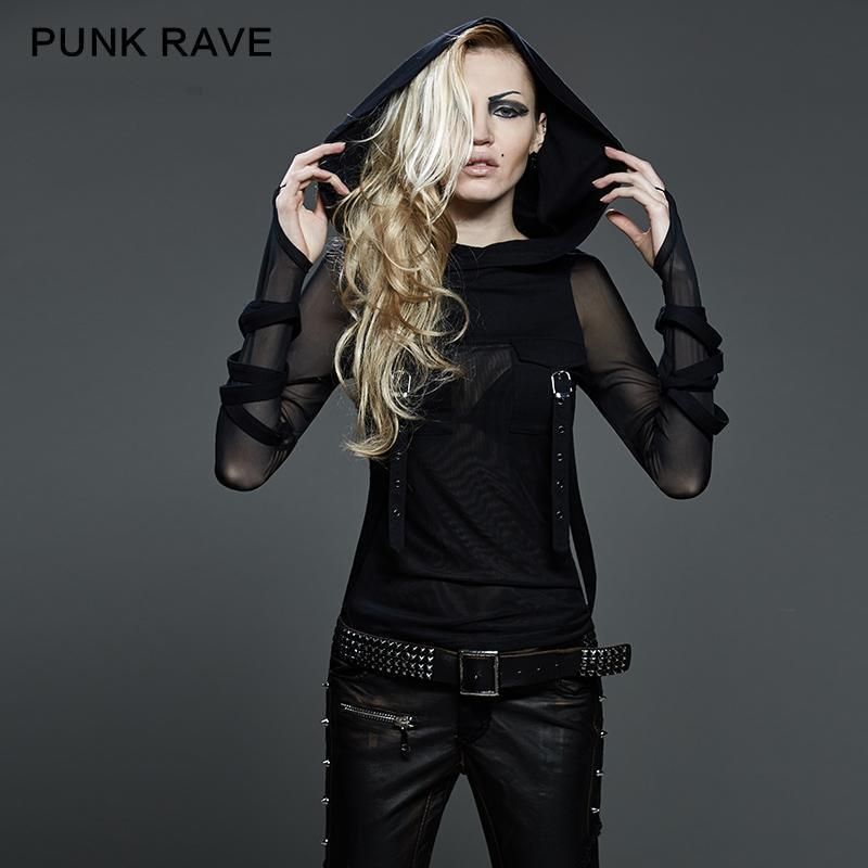 PUNK RAVE Women's Straps Hooded Mesh Tops