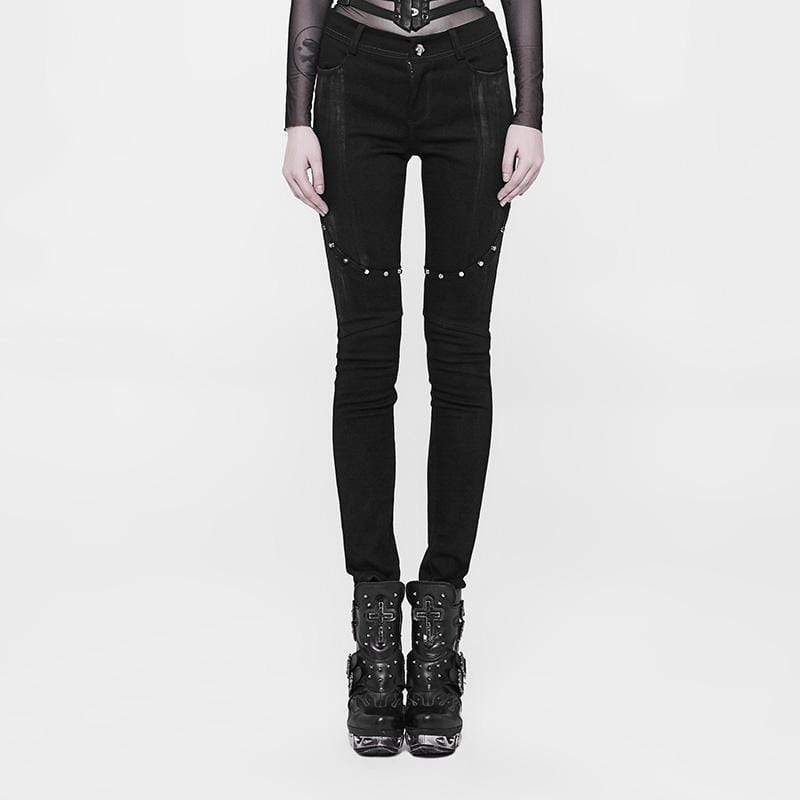 PUNK RAVE Women's Studded Punk Trousers
