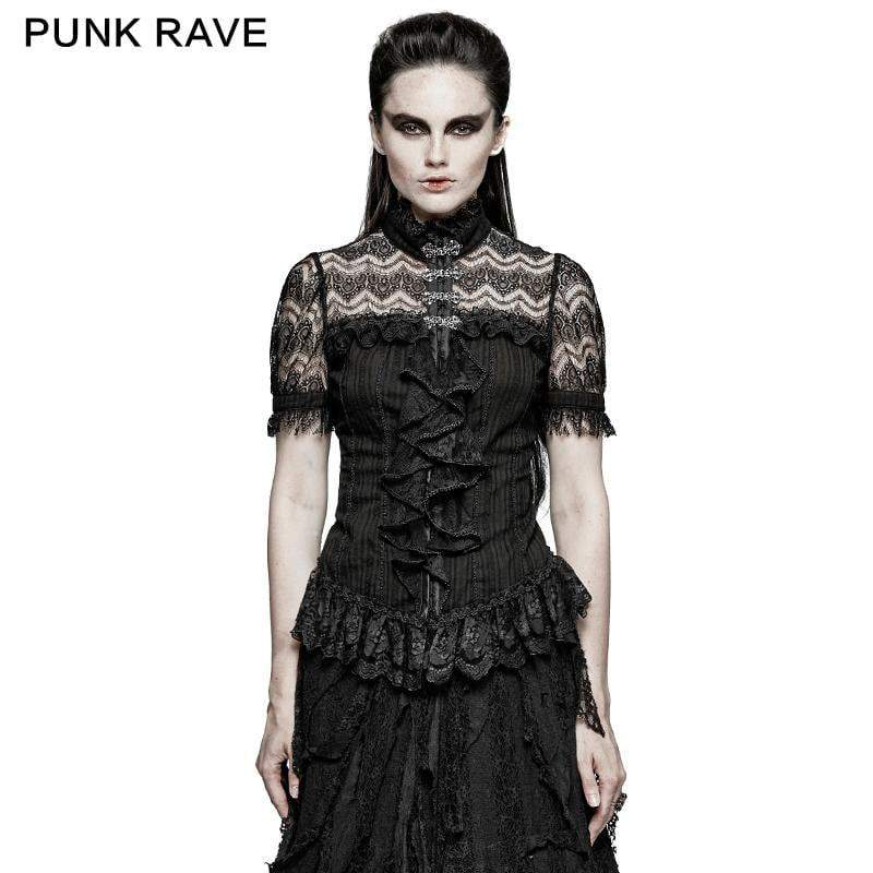PUNK RAVE Women's Summer Elegent Lace Collar Tunic Tops Shirts