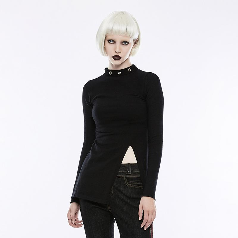 Women's Diablo Split Stand Collar Sweater-Punk Design