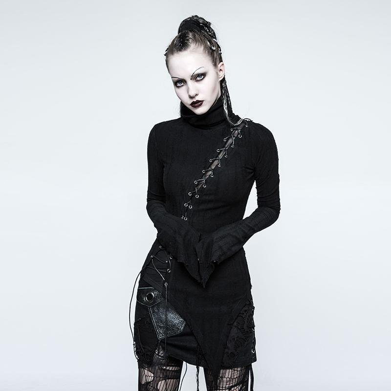 Women's Punk High Collar Lace-up Ripped Sweater-Punk Design