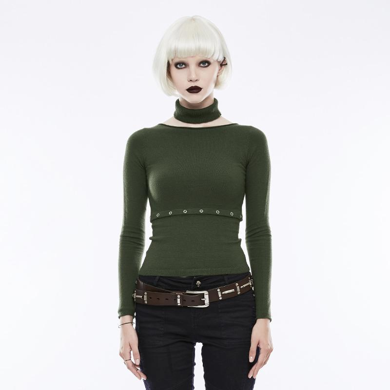 Women's Separate Collars Split Sweater Green-Punk Design
