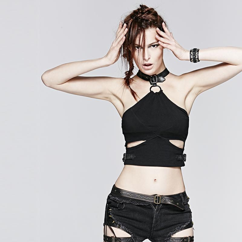 Women's Cutout Halterneck Crop Tops-Punk Design