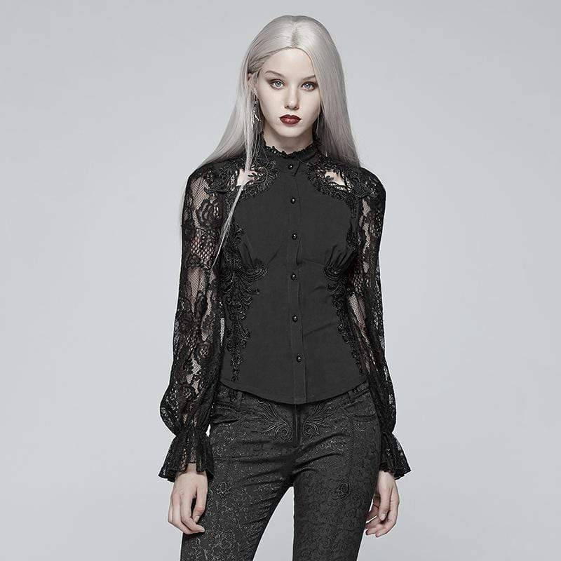 PUNK RAVE Damen T-Shirts & Tops Damen Goth Lace Bluse