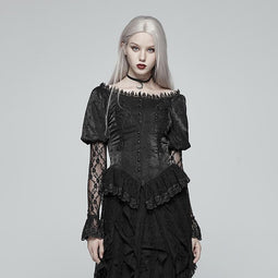 Women's Goth Sheer Puff Lace Sleeves Velet Tops-Punk Design