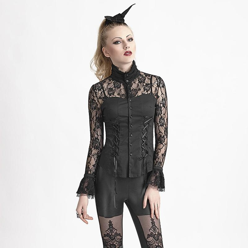 Women's Gothic Floral Sheer Lace Tops-Punk Design