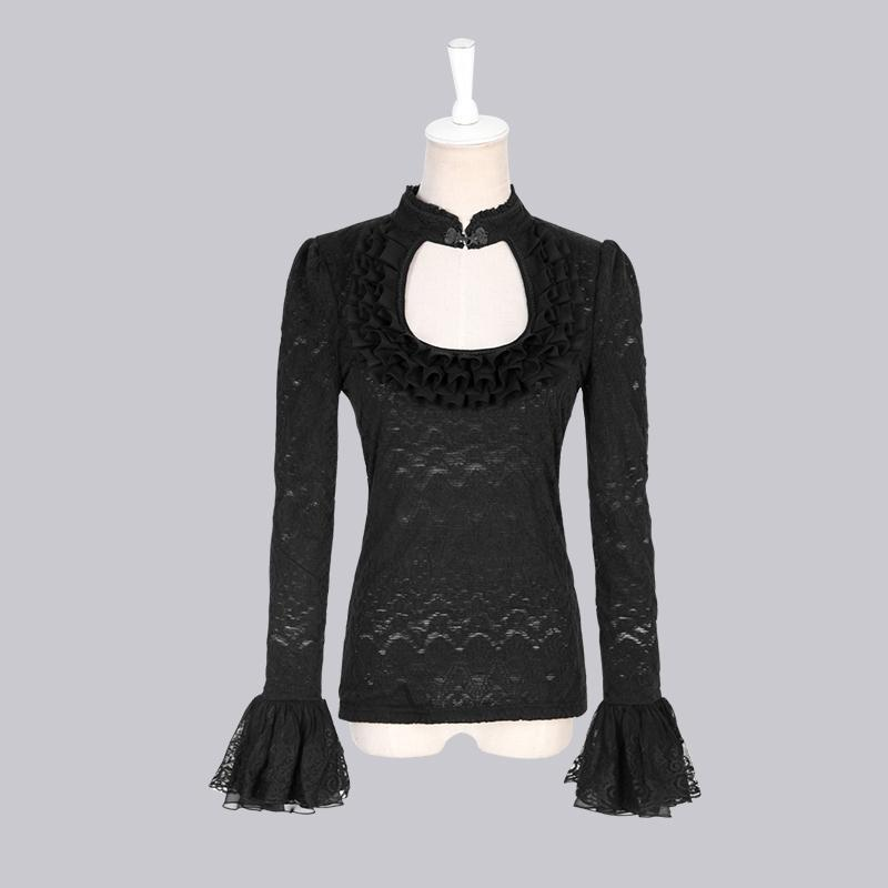 Women's Gothic Jacquard Knit Stand Collar Lace Tops-Punk Design