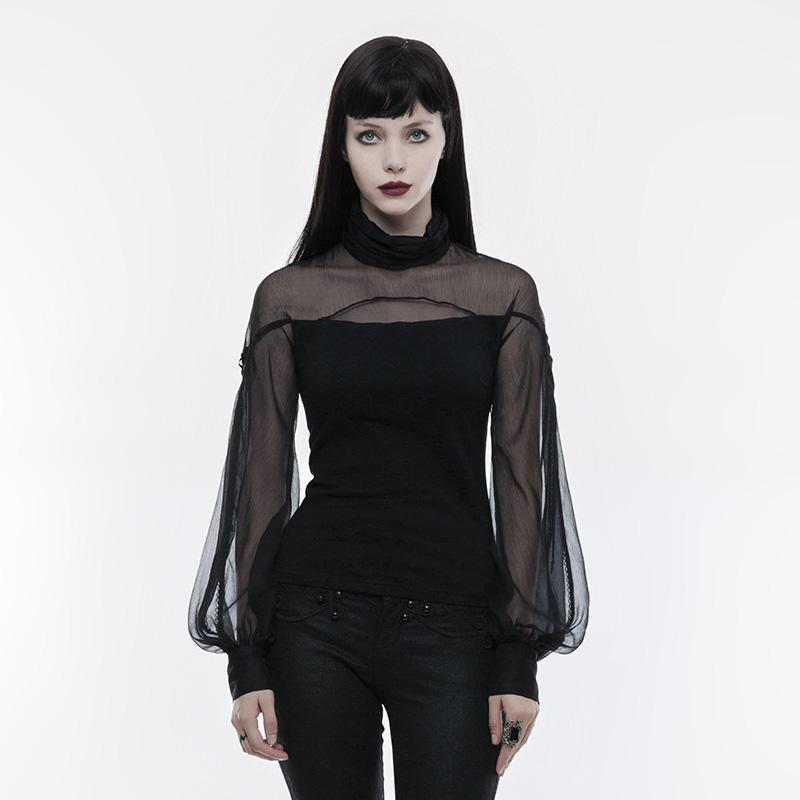 Women's Gothic Perspective Net Colorblock Cotton Lantern Sleeve Standard Tops-Punk Design