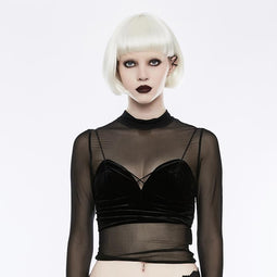 Women's Gothic Sexy Deep-V Tight-fitting Velvet Camisole Crop tops-Punk Design