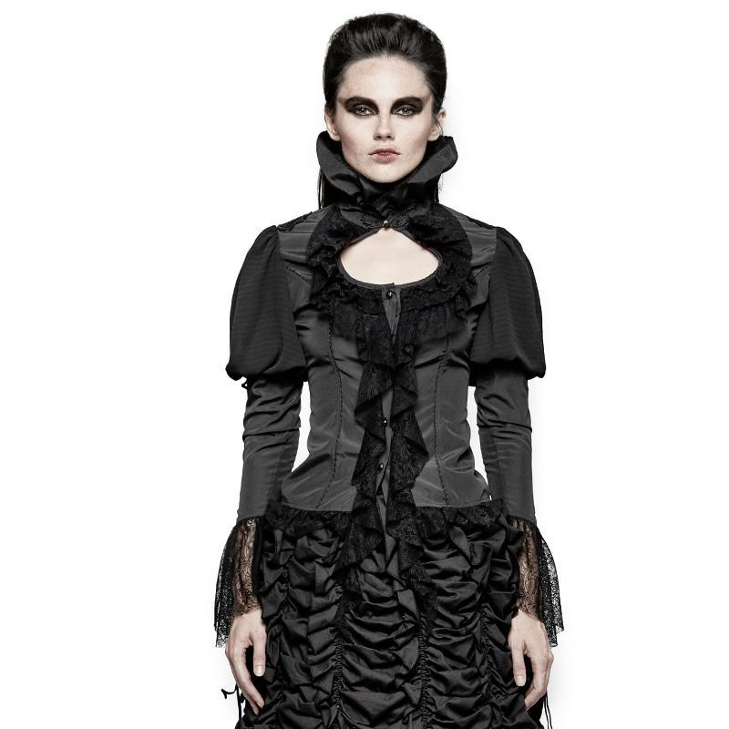 Women's Gothic Turtleneck Lace Dovetail Tops-Punk Design