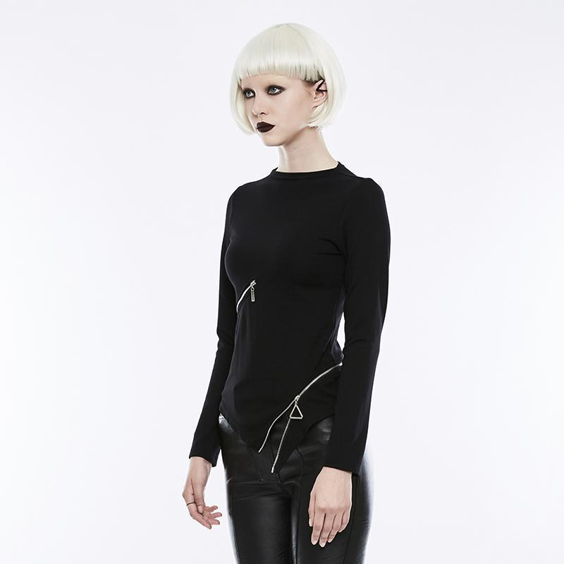 Women's Gothic Zipper Decoration Cropped Hem Long-sleeve T-shirt-Punk Design