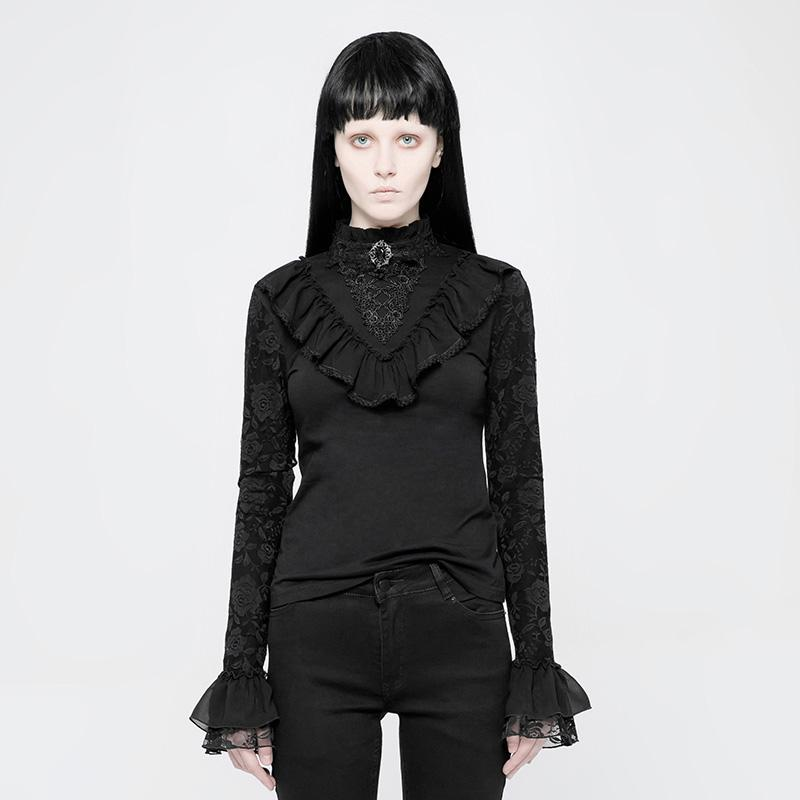 Women's Lace Sleeve Goth Top-Punk Design