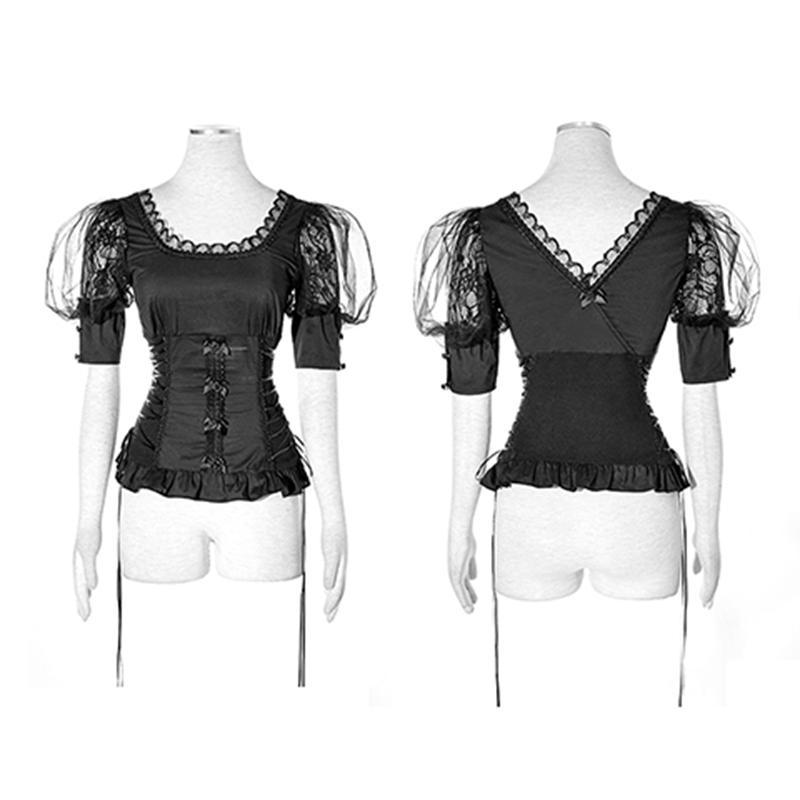 Women's Lolita Floral Lace Bowknot Tops-Punk Design