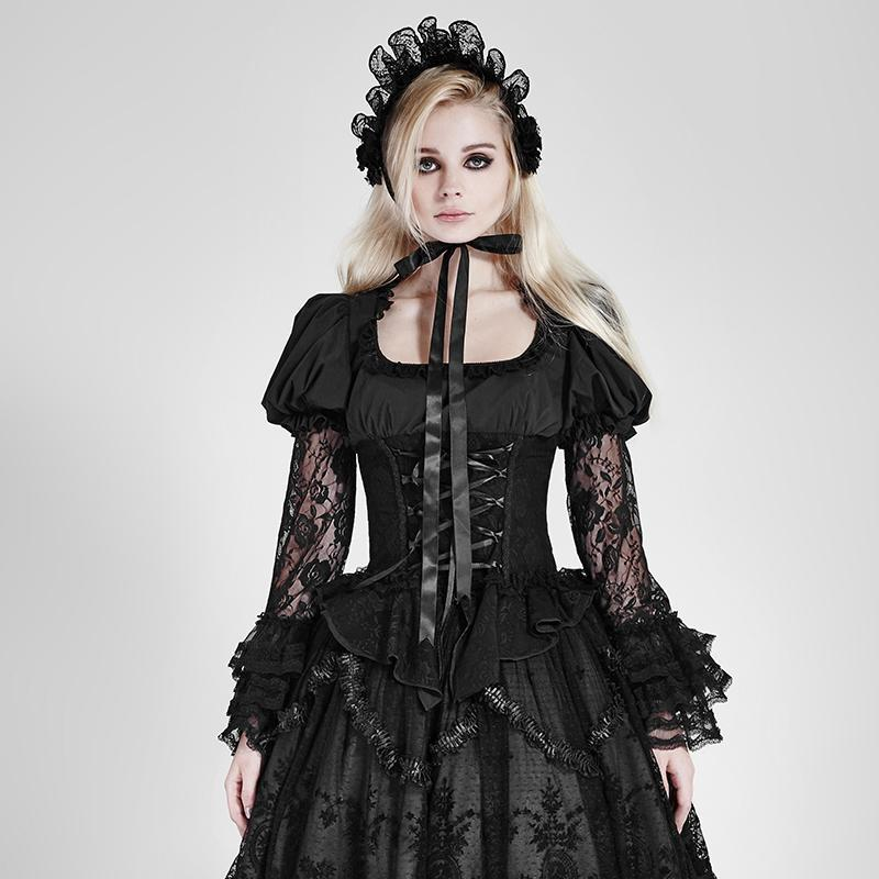 Women's Lolita Floral Lace Tops-Punk Design