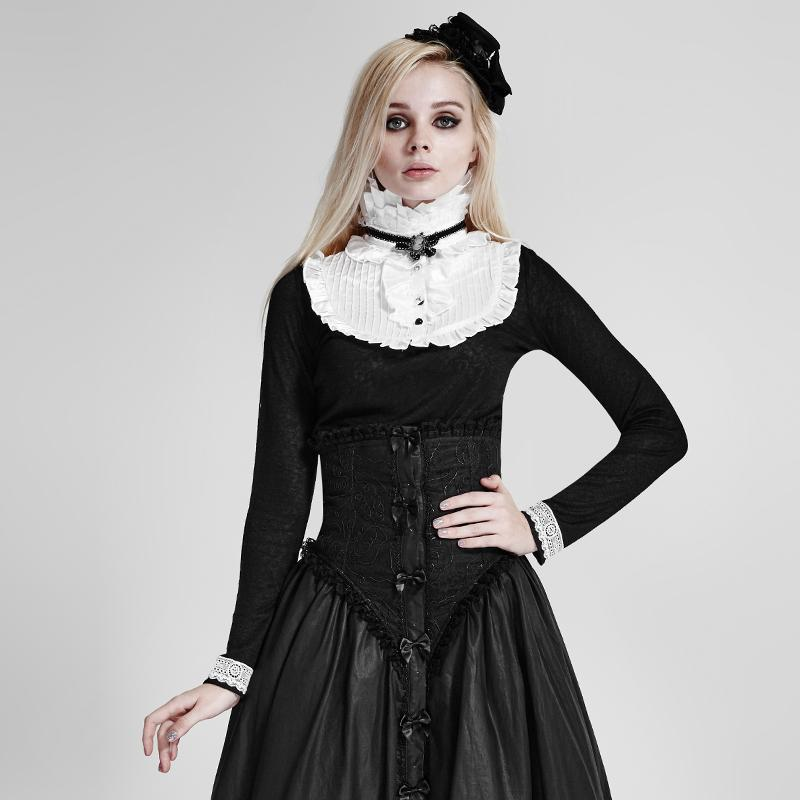 Women's Lolita High Collar Ruffles Tops White-Punk Design