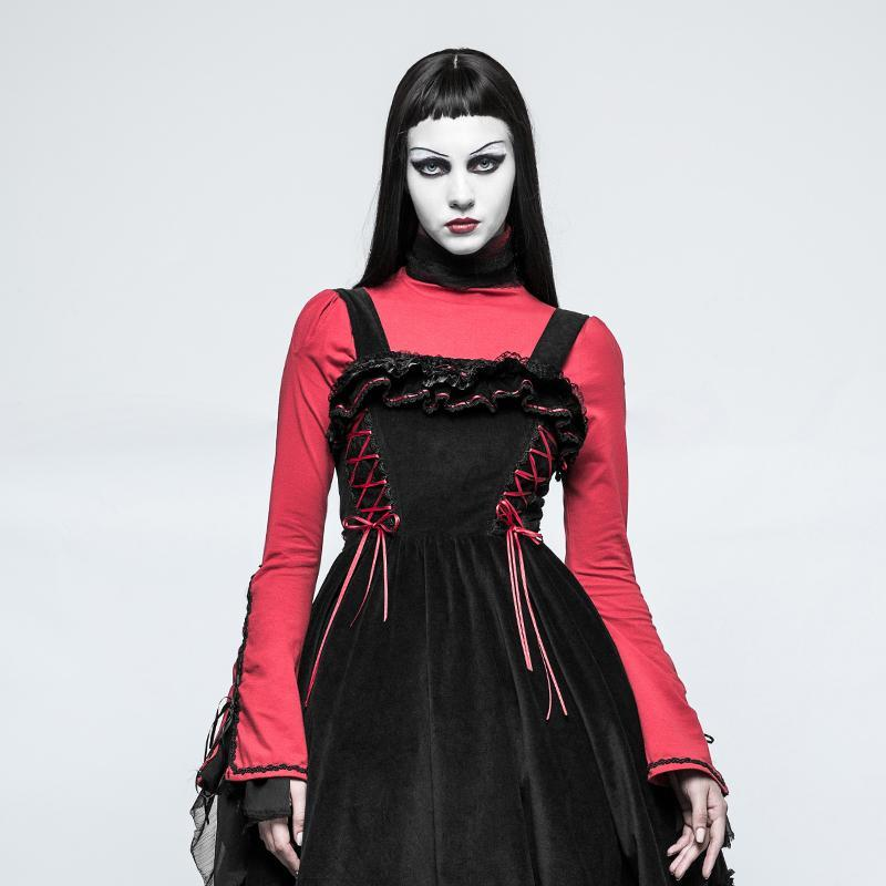 Women's Lolita High Neck Lace Collar Tops Red-Punk Design