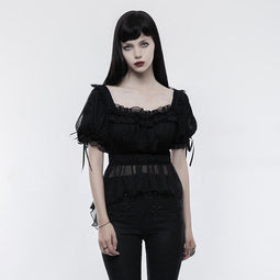 Women's Lolita Irregular Hem Slim Fitted Knitted T-shirt-Punk Design