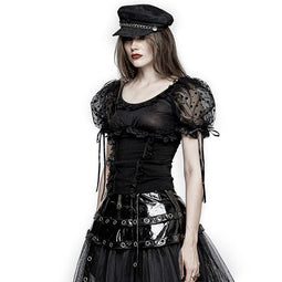 Women's Lolita Puff Sleeves Shoulder Pads Mesh Short Tops-Punk Design