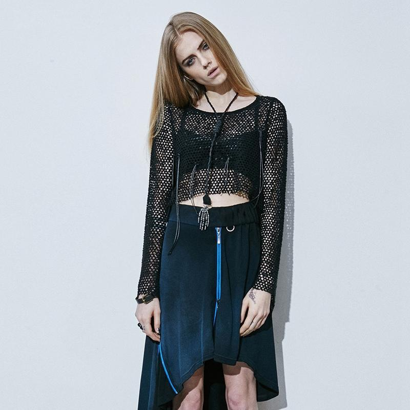 Women's Long Sleeve Midriff Baring Mesh Knitting Shirt-Punk Design
