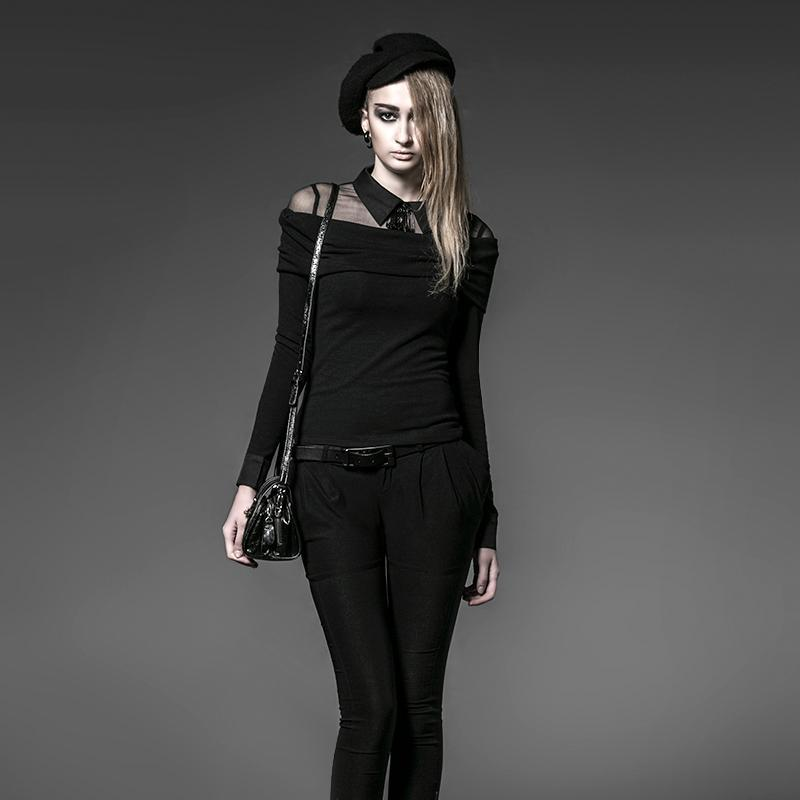 Women's Mesh Splice Silk T-shirts-Punk Design