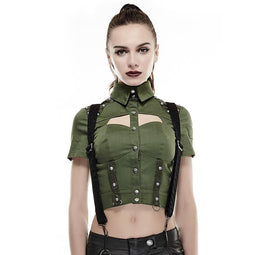 Women's Military Rivet Studded Short Sleeved Tops Green-Punk Design