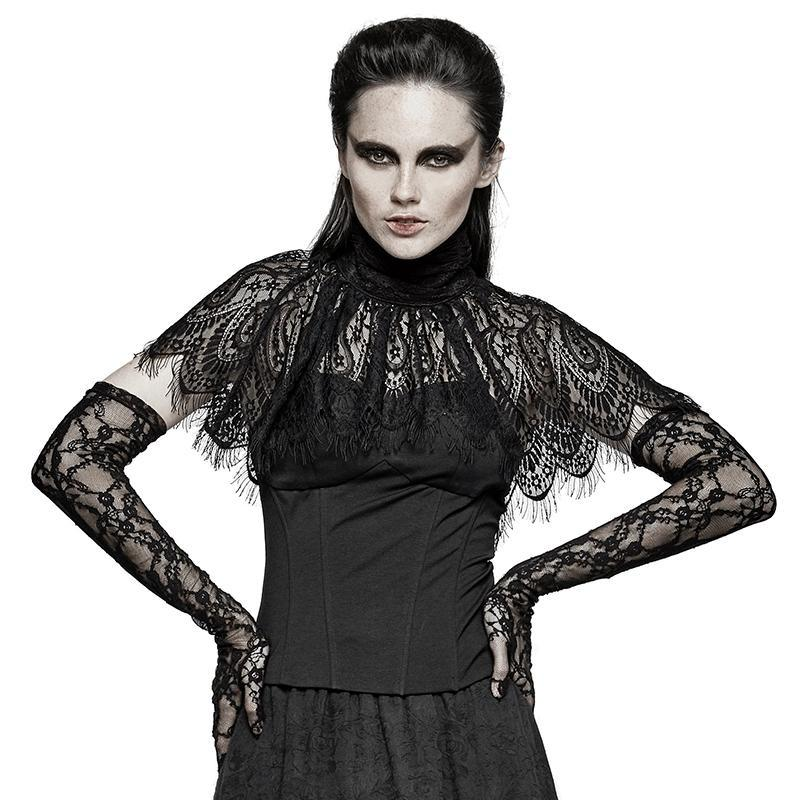 Damen New Gothic Asymmetric Peacock Cape Kurzarm Tops-Punk Design