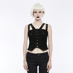 Women's Punk Adjustable Loops Slim Fitted Denim Vest-Punk Design