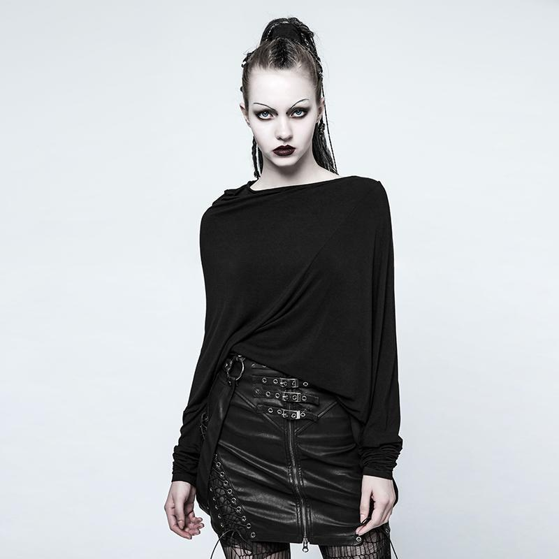 Women's Punk Boat Neck Casual Irregular Tops Black-Punk Design