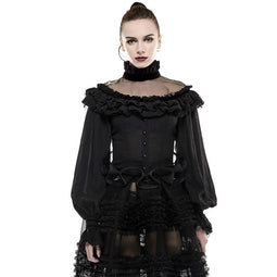 Women's Punk Lolita Black Lantern Sleeve Polo Flannel Ruffles Tops-Punk Design