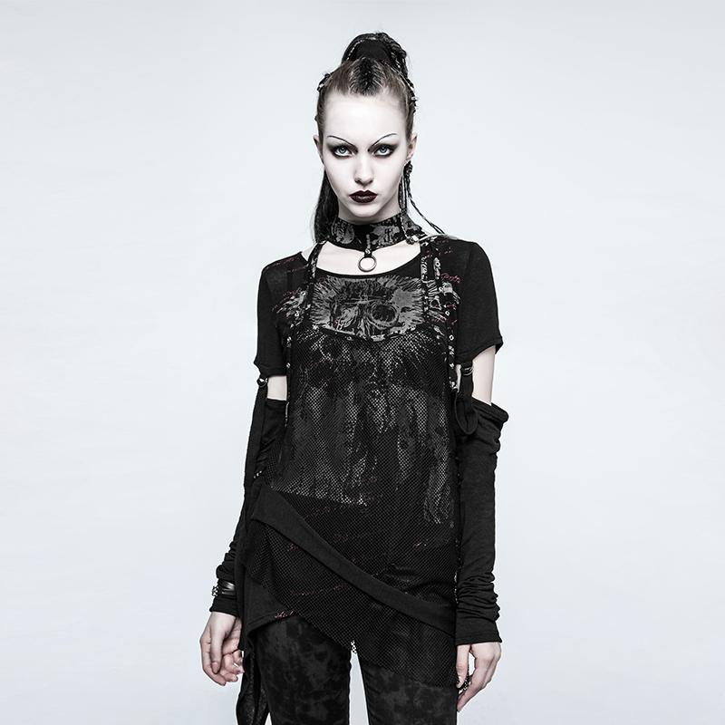 Women's Punk Mesh Skull T-shirts With Detachable Sleeves-Punk Design